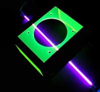 Стальная крышка для блока питания с зелеными флуоресцентными окошками