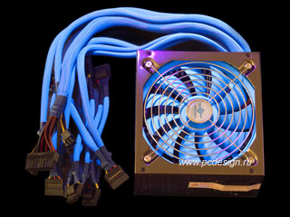 Блок питания ION2  450 Вт  SLI  с флоуресцентной синей оплеткой и 135 мм вентил