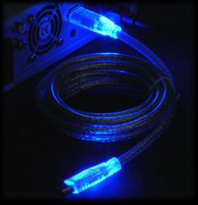 Кабель IEEE 1394a  Firewire  с синей  светодиодной подсветкой длина1 8м 6P 6P