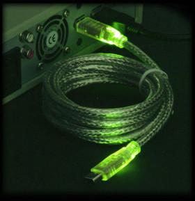 Кабель IEEE 1394  Firewire  с зеленой светодиодной подсветкой длина2м 6P 6P