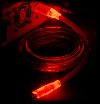 Кабель Sharkoon IEEE 1394  Firewire  с красной подсветкой  6P 6P
