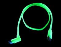 S ATA кабель  50 см  цвет   зелено желтый  светится в у ф