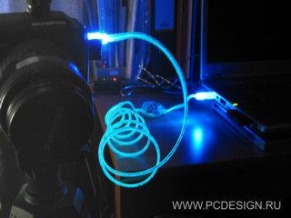 Кабель USB 2 0  длина 180 см    A M to B M USB  с  неоновым шнуром  синий