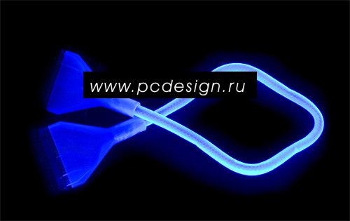 Для дисковода закруглен шлейф  синий  48 см  светится в у ф  синим