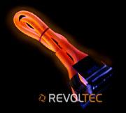 Для дисковода закруглен шлейф Revoltec  48 см  цвет   оранжевый  светится в у ф