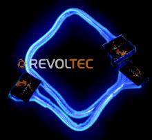 IDE шлейф Revoltec  3 коннект   60 см  цвет   синий  светится в у ф