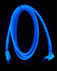 Revoltec SATA кабель  синий  светится в у ф    разъем 90 град  длина 50 см