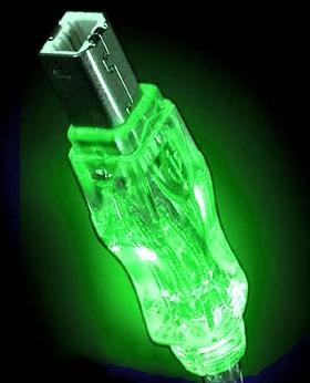Кабель USB 2 0 LED с зеленой подсветкой  длина 2 м  экранированный  A В
