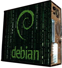 Глянцевые обои для корпуса  миди тауер     Debian   Размер 48Х43