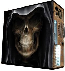 Глянцевые обои для корпуса  миди тауер     The skull in the hood   Размер 48Х43