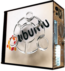 Глянцевые обои для корпуса  миди тауер     Ubuntu   Размер 48Х43