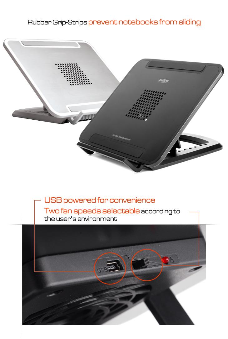 Охлаждающая подставка для ноутбука Zalman ZM NS1000F черная