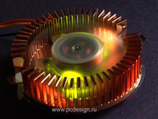 Кулер для видеокарты   2 желтых светодиода  медный  подш