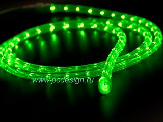 Светодиодный дюралайт  зеленый  длина 2 м  сечение 13 мм