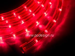 Светодиодный дюралайт  красный  длина 3 32 м  сечение 13 мм