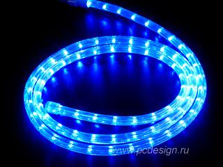 Светодиодный дюралайт  синий  длина 2 м  сечение 13 мм