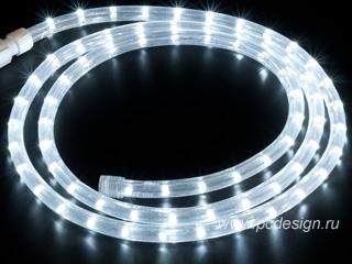 Светодиодный дюралайт  белый  длина 2 м  сечение 13 мм