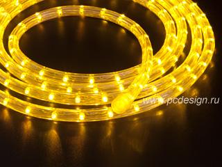 Светодиодный дюралайт  желтый  длина 3 32 м  сечение 13 мм