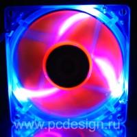 Флуоресцентный вентилятор Revoltec синий с оранжевыми лопастями и подсветкой