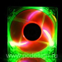 Флуоресцентный вентилятор Revoltec 80 мм зелено оранжевый с УФ светодиодами