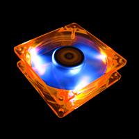 Флуоресцентный вентилятор Revoltec оранжевый с синими лопастями и подсветкой