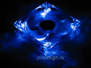 Вентилятор Kama PWM Blue LED 92мм прозрачный с синей свет  подсветкой