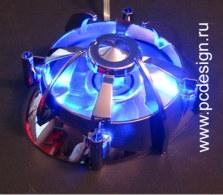 Космический вентилятор Centaurus с синими светодиодами  серебристое основание