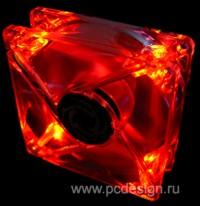 Ультраяркий вентилятор Revoltec 120 мм   Dark RED  с красными светодиодами