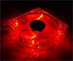 Ультраяркий вентилятор 80 мм   Dark red  с красными светодиодами
