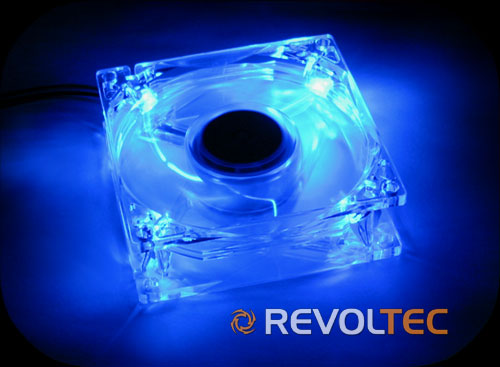 Вентилятор REVOLTEC 80мм прозрач  с син  светод  подсветкой  шарик   ball bear
