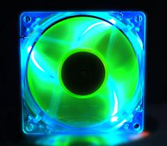 Флуоресцентный вентилятор 80 мм зелено синий со светодиодами