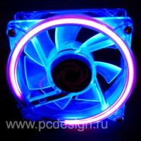 Флуоресцентный синий вентилятор  120 мм с ультрафиолетовым кольцом