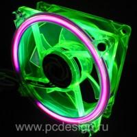 Флуоресцентный зеленый вентилятор  120 мм с ультрафиолетовым кольцом