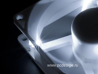 Вентилятор 80мм белый Kaze White LED с белой светодиодной подсветкой и  реобасом