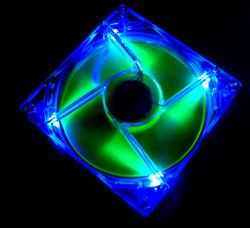 Флуоресцентный вентилятор 120 мм зелено синий со светодиодами