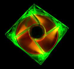 Флуоресцентный вентилятор 120 мм зелено оранжевый со светодиодами