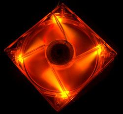 Флуоресцентный вентилятор 120 мм оранжевый со светодиодами