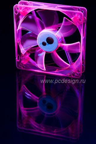 Вентилятор 120 мм Floston флуоресцентный  розовый
