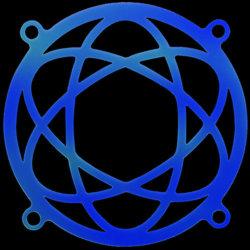 Атом     синяя флуоресцентная решетка светящаяся в ультрафиолете
