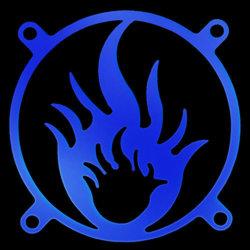 Пламя     синяя флуоресцентная решетка светящаяся в ультрафиолете