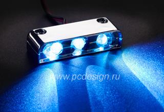 Хромированный блок из 3 x ярких синих светодиодов Sunbeam