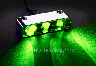 Хромированный блок из 3 x ярких зеленых светодиодов