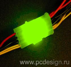 Набор из 6 ти светодиодных платок для подсветки молексов   зеленого цвета