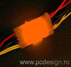 Набор из 6 ти светодиодных платок для подсветки молексов   оранжевого цвета