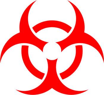 Наклейка  Biohazard Red   красная