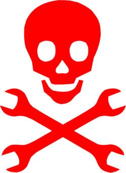 Наклейка  Череп моддера и гаечные ключи        красная