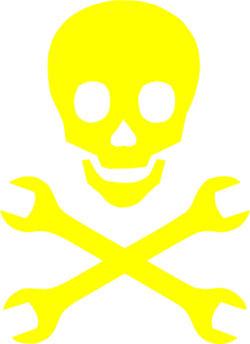 Наклейка  Череп моддера и гаечные ключи        желтая