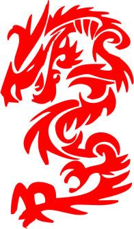 Наклейка  Chinese dragon   красная
