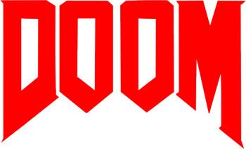 Наклейка  Надпись DOOM   красная
