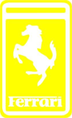 Наклейка  Феррари желтая   желтая